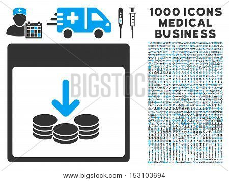 Blue And Gray Get Coins Calendar Page glyph icon with 1000 medical business pictograms. Set style is flat bicolor symbols, blue and gray colors, white background.