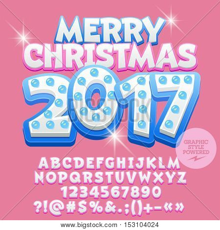 Vector cute light bulb Merry Christmas 2017 greeting card with set of letters, symbols and numbers. File contains graphic styles