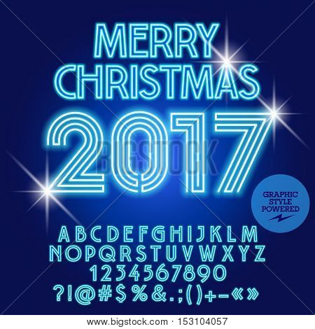 Vector modern light bulb Merry Christmas 2017 greeting card with set of letters, symbols and numbers. File contains graphic styles