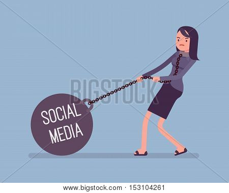 Businesswoman dragging a giant heavy weight on chain, written Social Media on a ball. Cartoon vector flat-style concept illustration