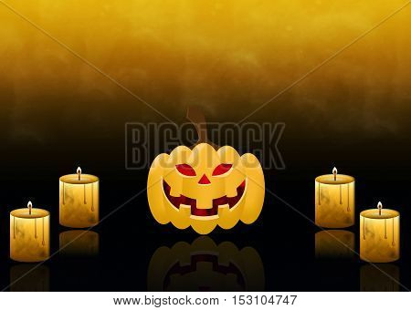 Orange pumpkin with red eyes with burning candles close-up on the smoky yellow-black background close-up. Card on Halloween.