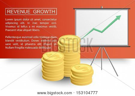 Stacked coins growth chart. Rising revenue concept. Revenue growth presentation ready for your design. Vector EPS10.