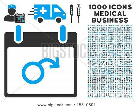 Blue And Gray Impotence Calendar Day glyph icon with 1000 medical business pictograms. Set style is flat bicolor symbols, blue and gray colors, white background.