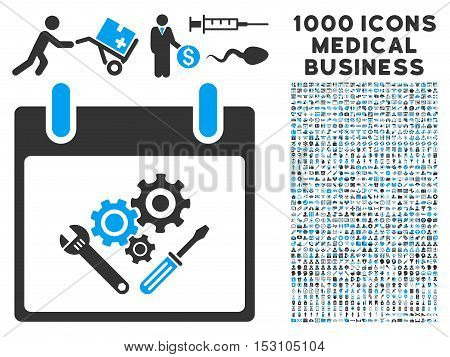 Blue And Gray Instrument Tools Calendar Day glyph icon with 1000 medical business pictograms. Set style is flat bicolor symbols, blue and gray colors, white background.