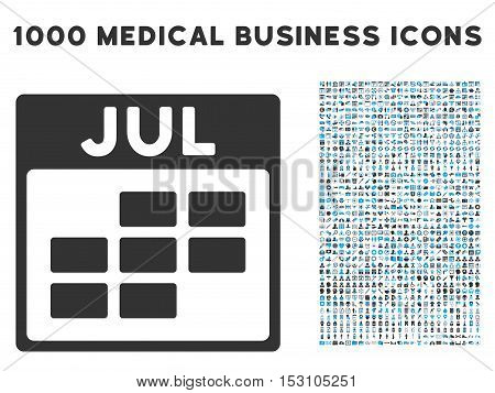 Blue And Gray July Calendar Grid glyph icon with 1000 medical business pictograms. Set style is flat bicolor symbols, blue and gray colors, white background.