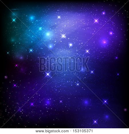 Night sky space background with stars and galaxies