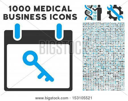 Blue And Gray Key Calendar Day glyph icon with 1000 medical business pictograms. Set style is flat bicolor symbols, blue and gray colors, white background.