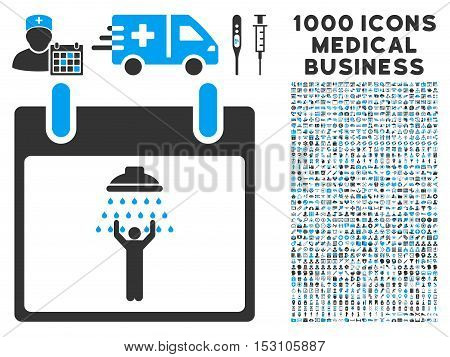 Blue And Gray Man Shower Calendar Day glyph icon with 1000 medical business pictograms. Set style is flat bicolor symbols, blue and gray colors, white background.
