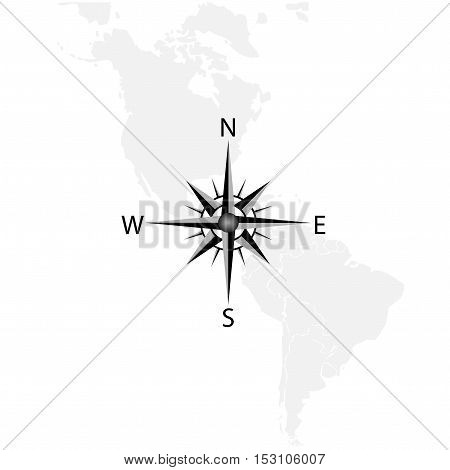 Vector compass on the map of America - illustration