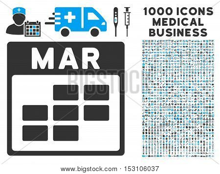 Blue And Gray March Calendar Grid glyph icon with 1000 medical business pictograms. Set style is flat bicolor symbols, blue and gray colors, white background.