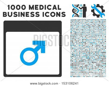 Blue And Gray Mars Male Symbol Calendar Page glyph icon with 1000 medical business pictograms. Set style is flat bicolor symbols, blue and gray colors, white background.