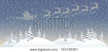 Christmas forest landskape with Santa Clouse sleigh in the sky
