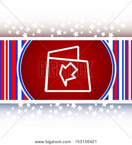 white and red Folder icon web button with map