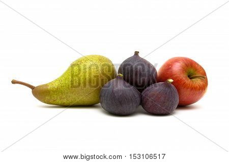 figs pear and red apple on a white background. horizontal photo.