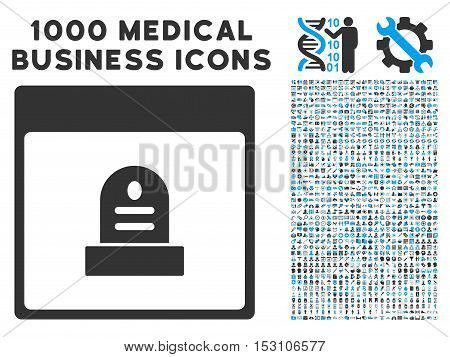 Blue And Gray Memorial Tombstone Calendar Page glyph icon with 1000 medical business pictograms. Set style is flat bicolor symbols, blue and gray colors, white background.