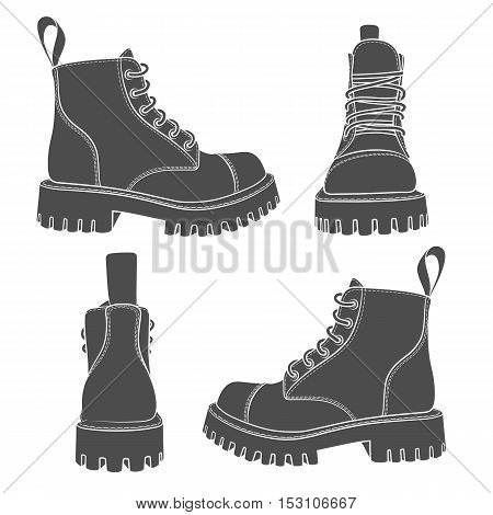 Vector set of drawings with boots. Isolated objects on a white.