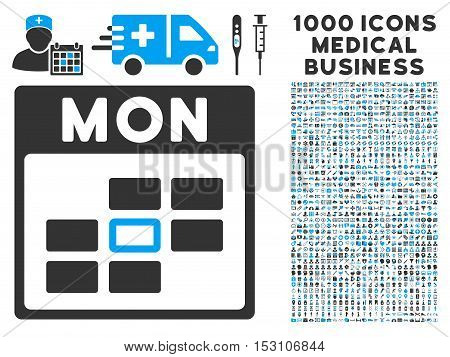 Blue And Gray Monday Calendar Grid glyph icon with 1000 medical business pictograms. Set style is flat bicolor symbols, blue and gray colors, white background.