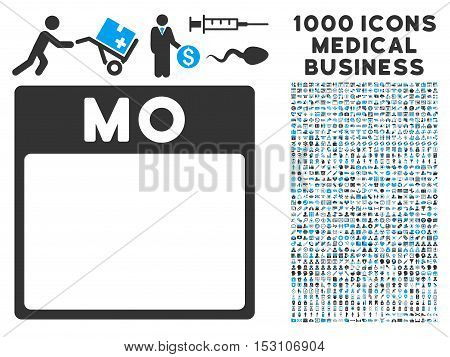 Blue And Gray Monday Calendar Page glyph icon with 1000 medical business pictograms. Set style is flat bicolor symbols, blue and gray colors, white background.
