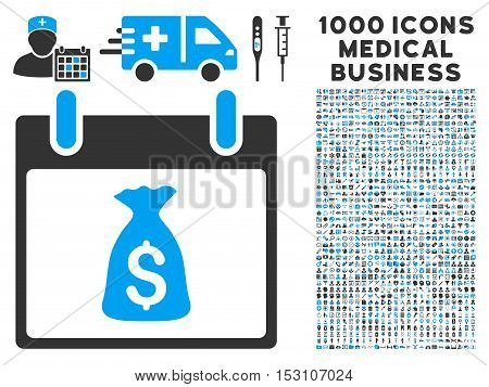 Blue And Gray Money Bag Calendar Day glyph icon with 1000 medical business pictograms. Set style is flat bicolor symbols, blue and gray colors, white background.