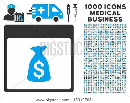 Blue And Gray Money Bag Calendar Page glyph icon with 1000 medical business pictograms. Set style is flat bicolor symbols, blue and gray colors, white background.