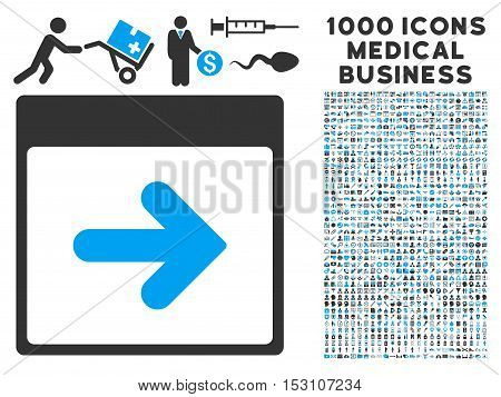 Blue And Gray Next Calendar Day glyph icon with 1000 medical business pictograms. Set style is flat bicolor symbols, blue and gray colors, white background.