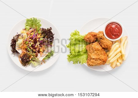 Concept Of Mock Up Fresh Salad And Fried Chicken And French Fries Set Isolated On White Background.