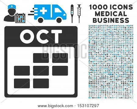 Blue And Gray October Calendar Grid glyph icon with 1000 medical business pictograms. Set style is flat bicolor symbols, blue and gray colors, white background.