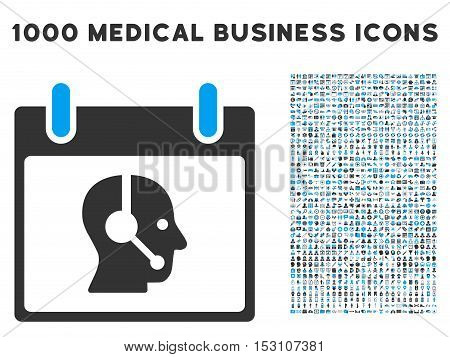 Blue And Gray Operator Calendar Day glyph icon with 1000 medical business pictograms. Set style is flat bicolor symbols, blue and gray colors, white background.