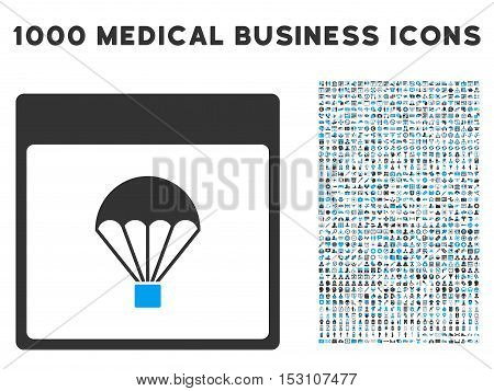 Blue And Gray Parachute Calendar Page glyph icon with 1000 medical business pictograms. Set style is flat bicolor symbols, blue and gray colors, white background.