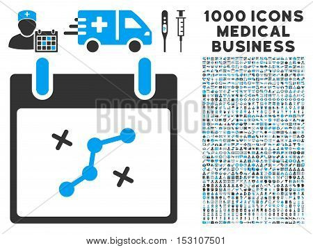 Blue And Gray Path Points Calendar Day glyph icon with 1000 medical business pictograms. Set style is flat bicolor symbols, blue and gray colors, white background.