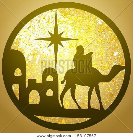Adoration of the Magi silhouette icon vector illustration on gold background. Scene of the Holy Bible