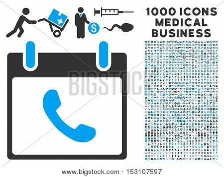 Blue And Gray Phone Calendar Day glyph icon with 1000 medical business pictograms. Set style is flat bicolor symbols, blue and gray colors, white background.