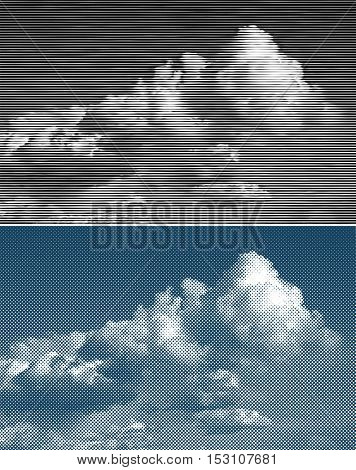 vector illustration with clouds on sky, dotted and linear halftone background