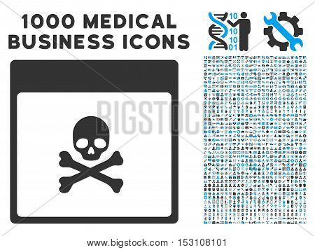 Blue And Gray Poison Skull Calendar Page glyph icon with 1000 medical business pictograms. Set style is flat bicolor symbols, blue and gray colors, white background.