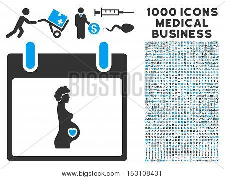 Blue And Gray Pregnant Woman Calendar Day glyph icon with 1000 medical business pictograms. Set style is flat bicolor symbols, blue and gray colors, white background.