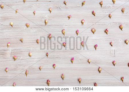 Natural Pink Rose Flower Buds On Wooden Board