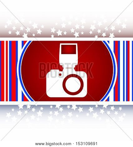 photo camera web icon button, white and red logo