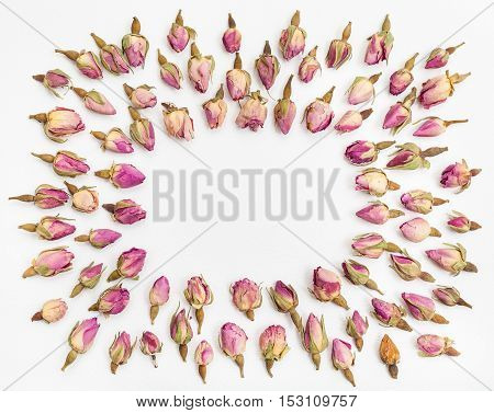 Frame From Many Pink Rose Flower Buds On White