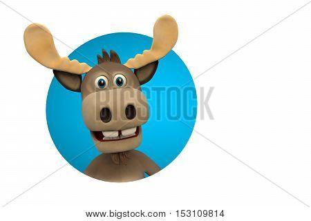 Cute moose cartoon animal zoo forest 3d illustration