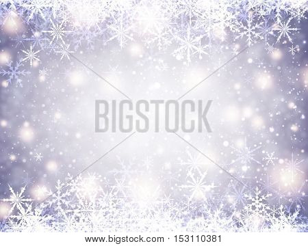 Lilac winter luminous background with snowflakes. Vector illustration.