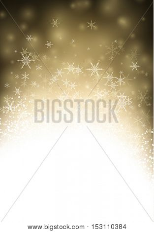 Golden winter luminous background with snowflakes. Vector illustration.