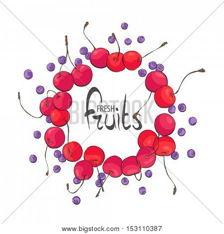 Frame of juicy cherries and blueberries on a white background