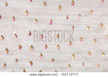 Natural Pink Rose Flower Buds On Wooden Plank