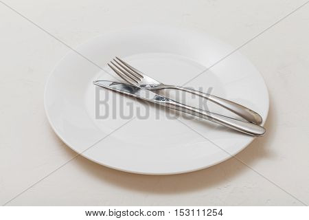 White Plate With Parallel Knife, Spoon On White