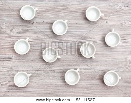 Top View Of Many White Cups On Gray Brown Table
