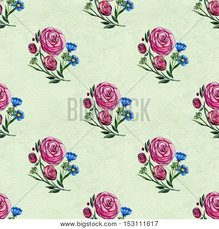 Seamless pattern with pink roses. Floral watercolor background.