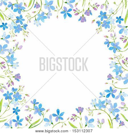 round frame with forget-me-nots flowers.green and blue floral border.watercolor hand drawn illustration.