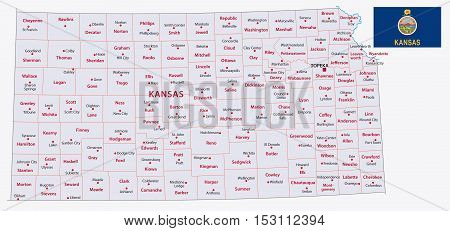 Kansas Administrative Map With Flag 2