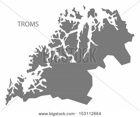 Troms Norway Map grey illustration high res