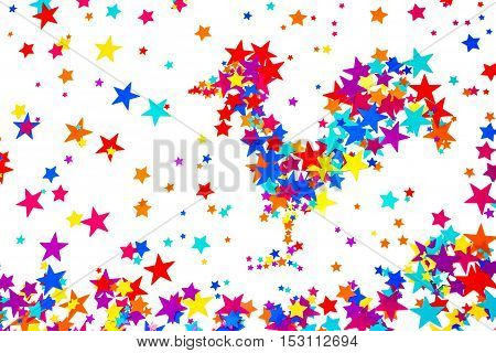 Close-up symbol of 2017 rooster built of colorful stars on a white background. Suitable for New year or Christmas background 2017.